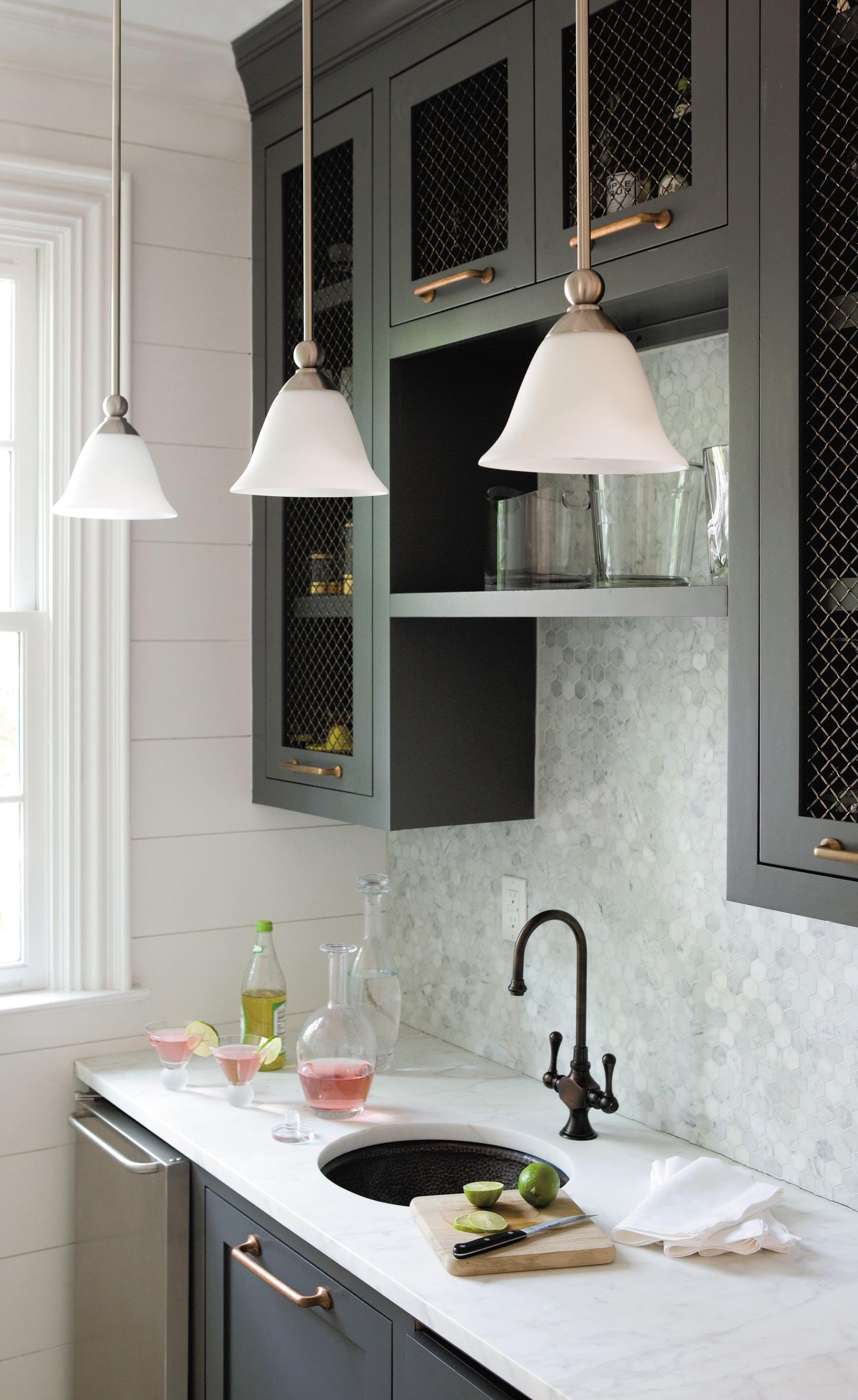 Mini Pendant with Opal Glass Shade Provides Affordable Solution for Kitchen Counter Lighting #graycabinets