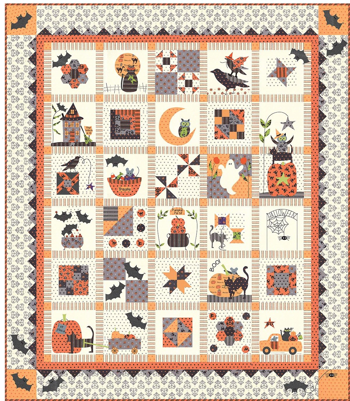 Spooky Halloween Row of the Month Quilt | Holiday Quilts | Pinterest
