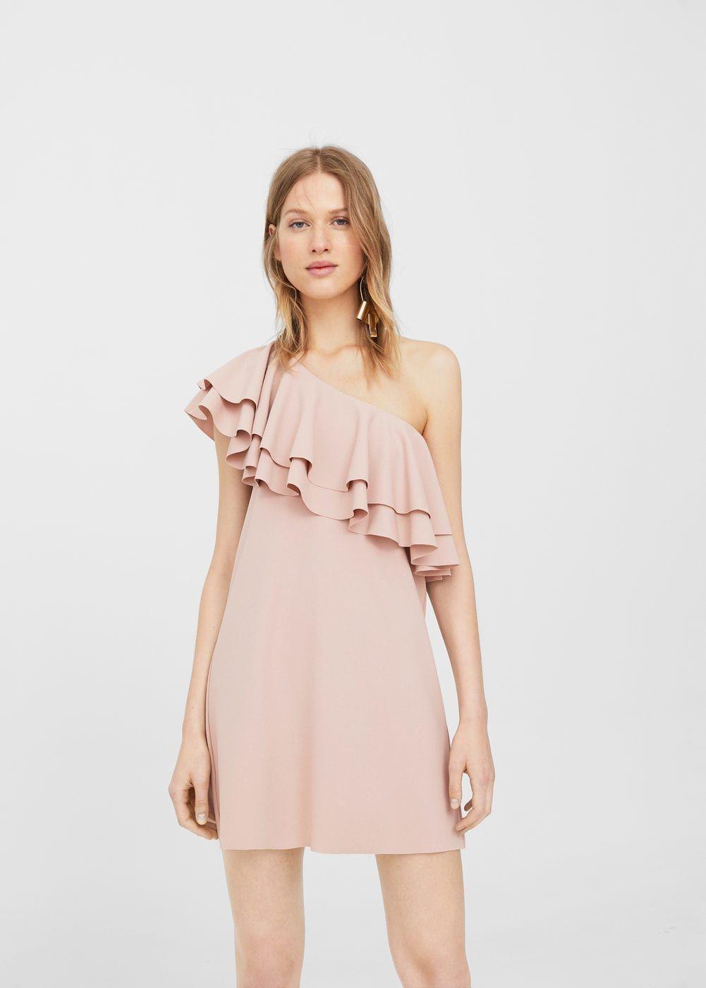 Vestido asimétrico volante - Vestidos de Mujer  b750e31d44f1