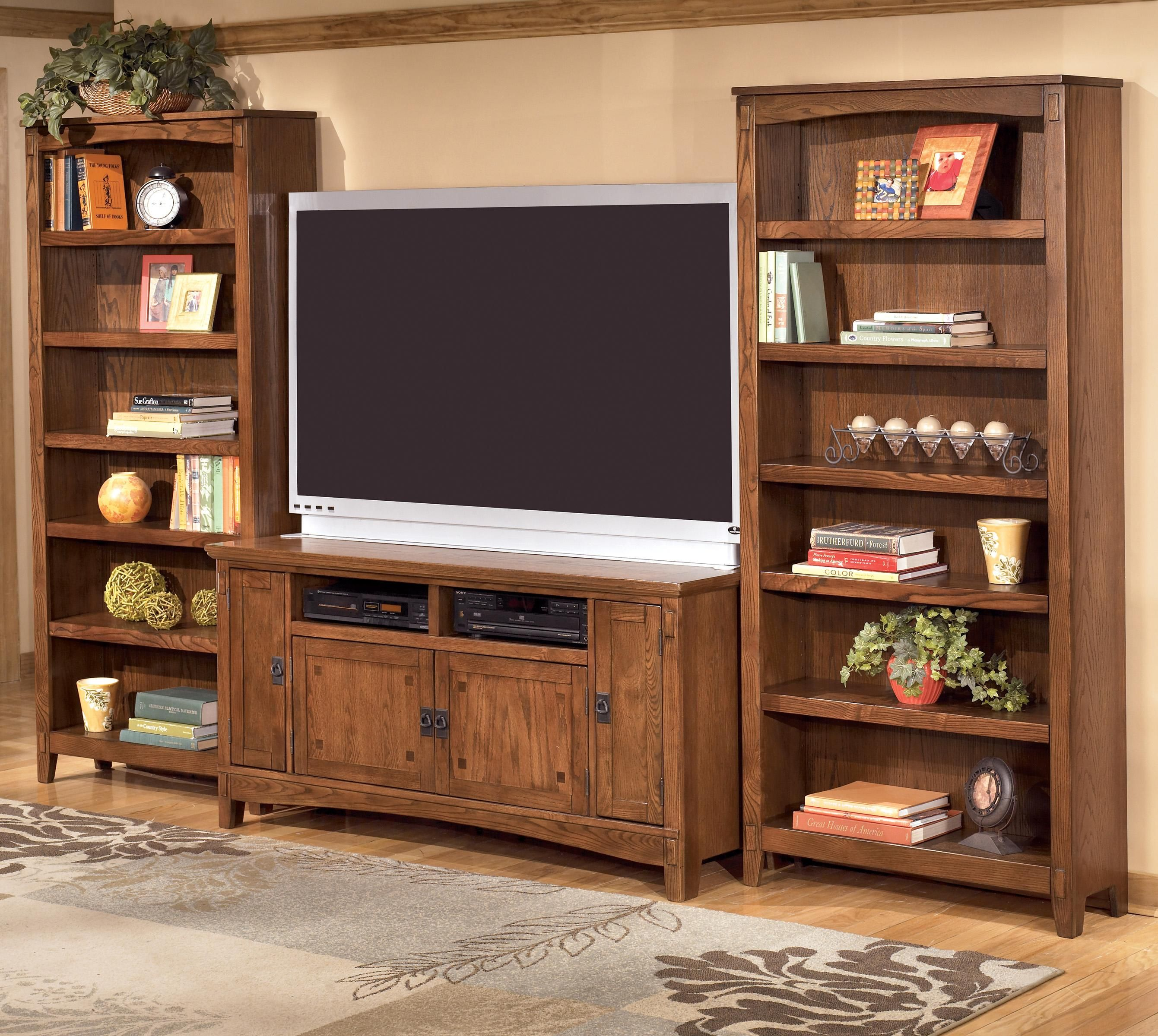 For The Ashley Furniture Cross Island 60 Inch Tv Stand 2 Large Bookcases At John V Schultz Your Erie Meadville Pittsburgh Warren