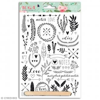 Rub-ons Transferts Lovely flowers - Motifs noirs - 1 planche 15 x 21 cm