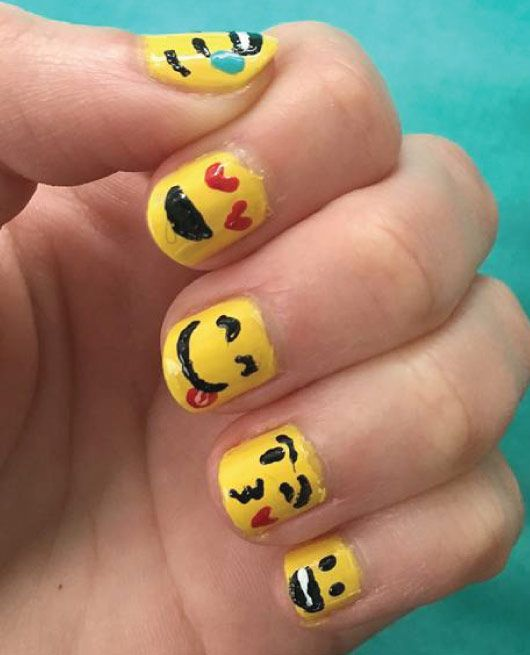 22 Easy Emoji Nail Art Designs for Back to School 2018 - My Cute ...