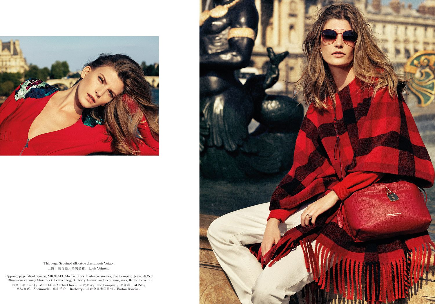 visual optimism; fashion editorials, shows, campaigns & more!: reveling in red: valerija kelava by nico for vogue travel in france september 2014