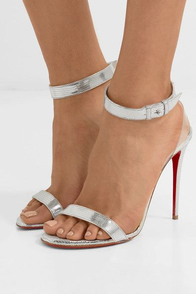 Jonatina 100 Pvc-trimmed Metallic Lizard-effect Leather Sandals - Silver Christian Louboutin nb5wB