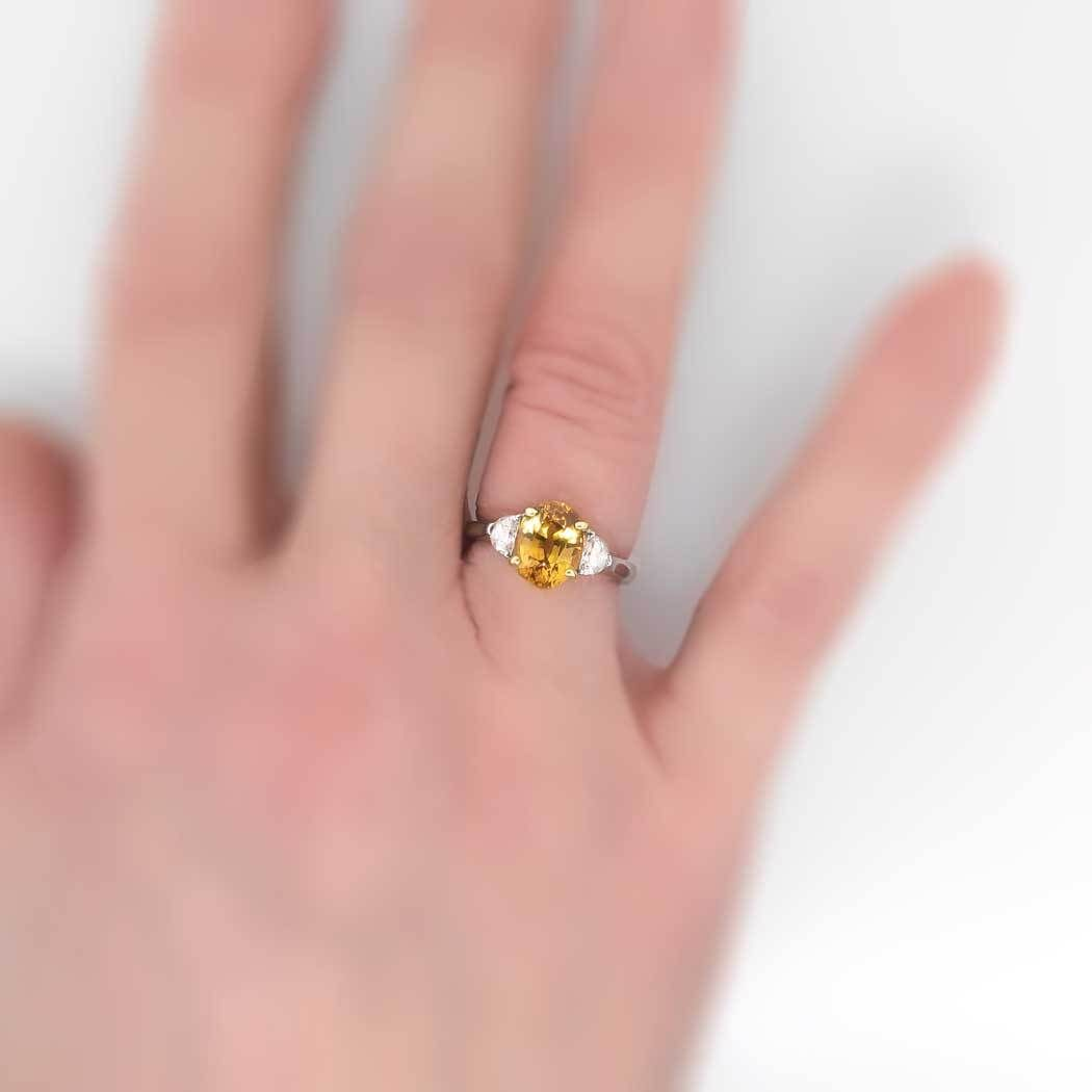 Estate Buttery 3.38ctw Yellow Sapphire & Moon Shape Diamond Ring 18k ...