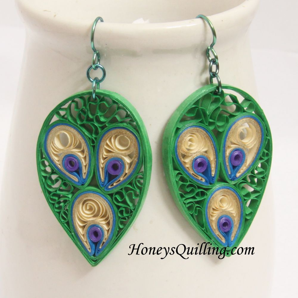 tutorial for paper quilled earrings peacock inspired designs by honeys quilling - Earring Design Ideas