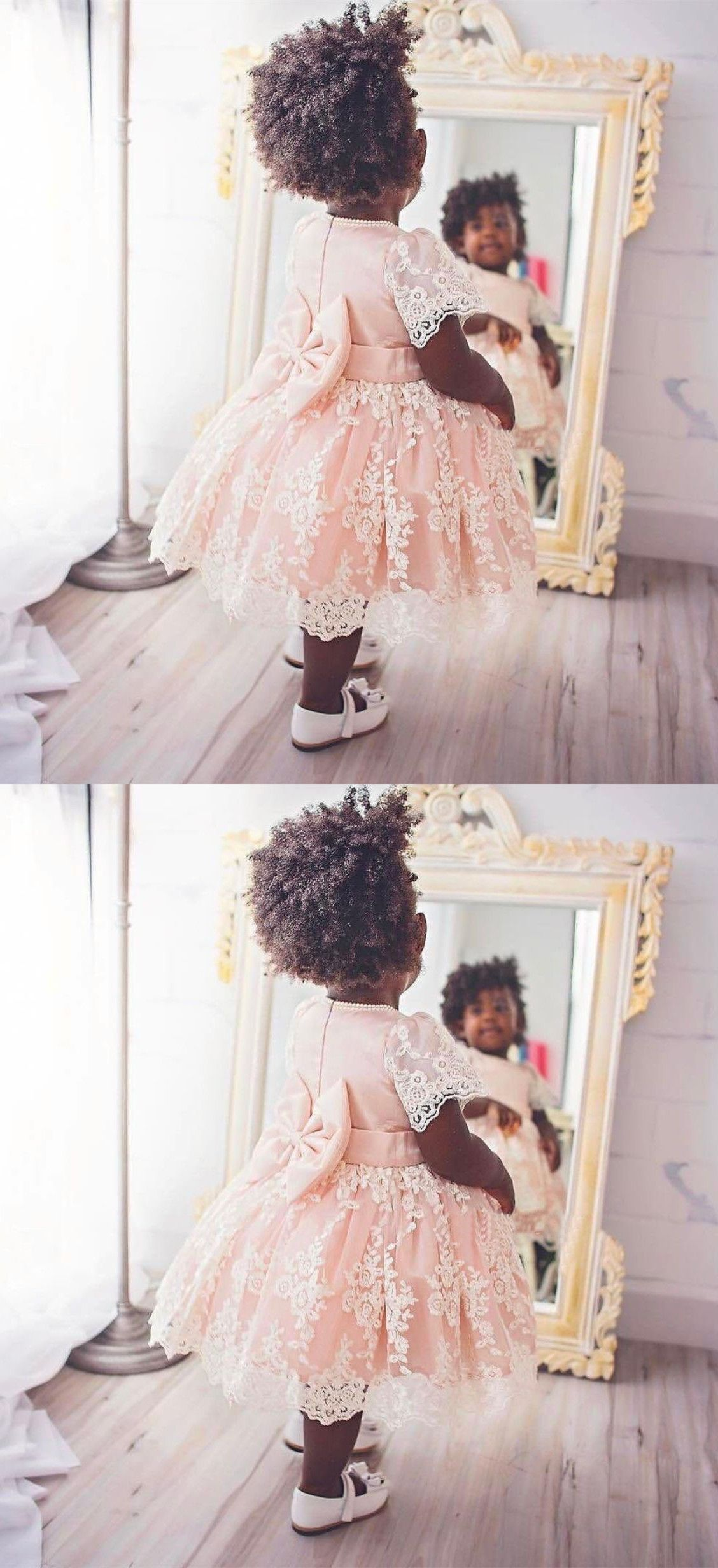 Ball gown round neck pink lace flower girl dress with bowknot cute