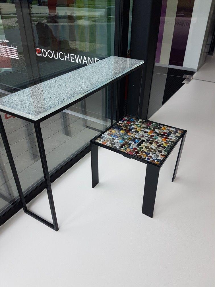 Moderne Glazen Sidetable.Glazen Sidetable Met Splitglas En Salontafeltje Met