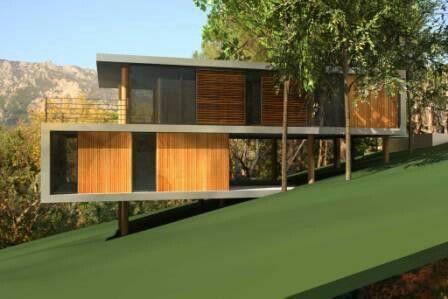 Maison pilotis pente Architecture Pinterest Architecture - plan de maison sur terrain en pente