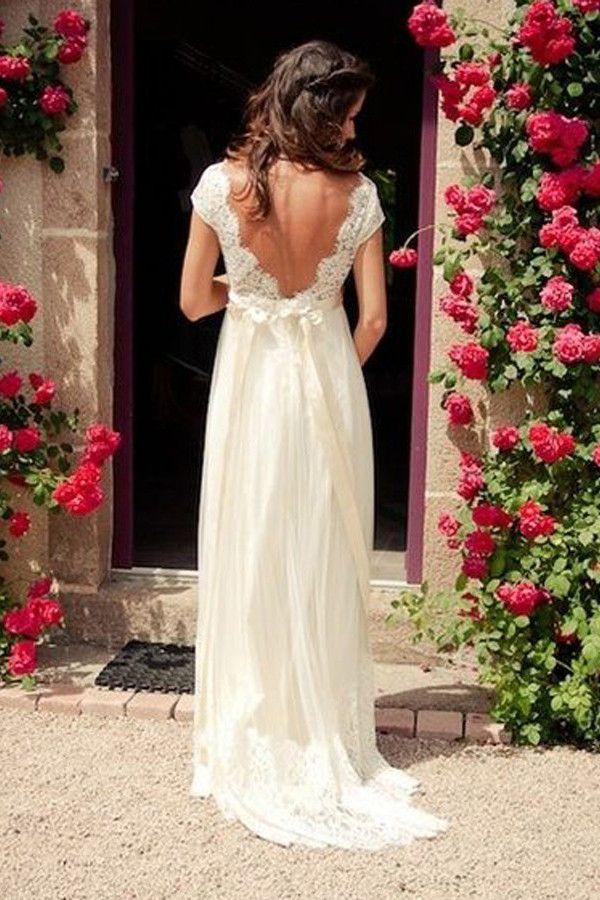 V-neck Cap Sleeves Sweep Train Backless Wedding Dress With Sash ...