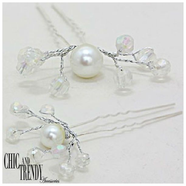 2 STUNNING WHITE PEARL,CRYSTAL PROM WEDDING FORMAL HAIR JEWELRY PINS ACCESSORIES