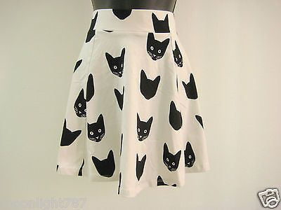 NWT NEW Divided by H&M Cat Animal Print Flared Skirt S, M
