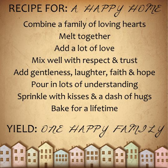 Recipe For A Happy Home Printable Pdf Image By Smykdesigns On Etsy