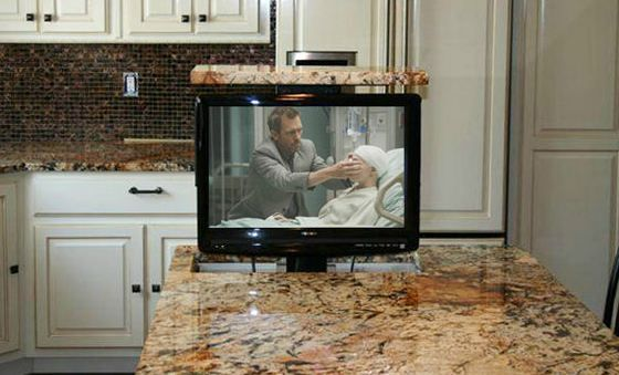 Pop Up Tv In Kitchen Island Tv In Kitchen Cool Kitchen Gadgets Kitchen Gadgets