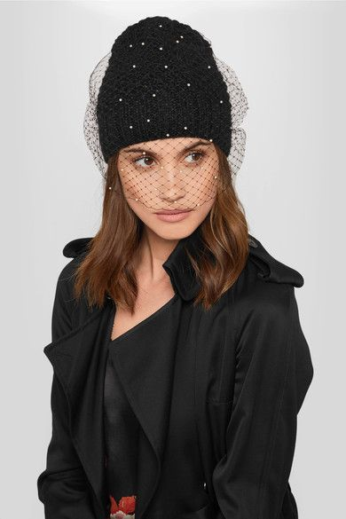 a7f42cec7e9f2 Jennifer Behr - Embellished Alpaca Veiled Beanie - Black