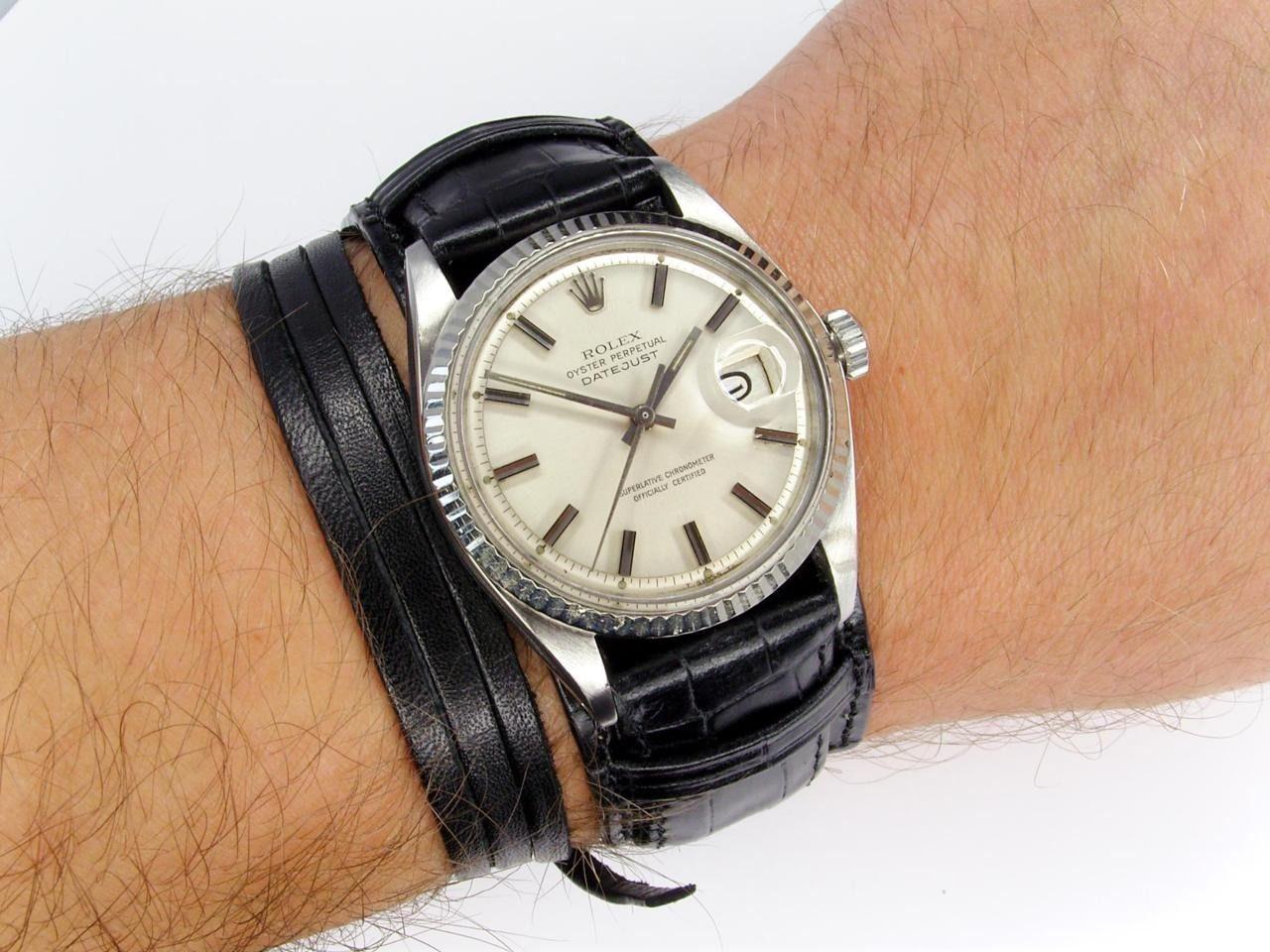 Watchanish A Vintage 1601 Rolex Datejust On A Slim Bund Style Military Leather Strap Watch Strap Rolex Watches Rolex Datejust