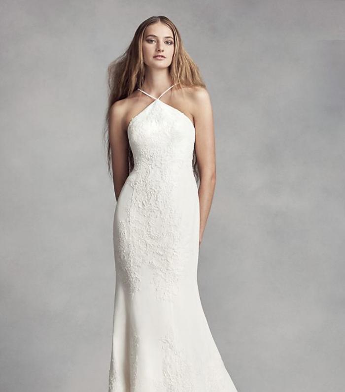 White By Vera Wang Halter Sheath Wedding Dress David S Bridal Halter Wedding Dress Davids Bridal Wedding Dresses Wedding Dresses