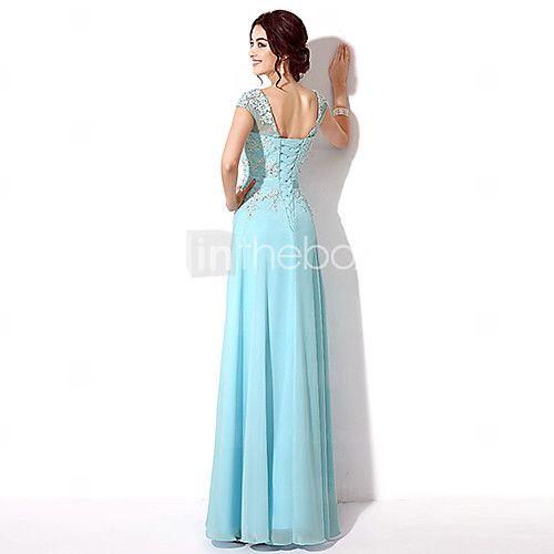 A Line Illusion Neckline Floor Length Chiffon Formal Evening Dress