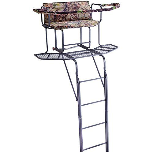 Guide Gear 20 Foot Double Rail Ladder Tree Stand With Hunting Blind Http Huntinggearsuperstore Com Product Ladder Stands Hunting Blinds Deer Hunting Blinds