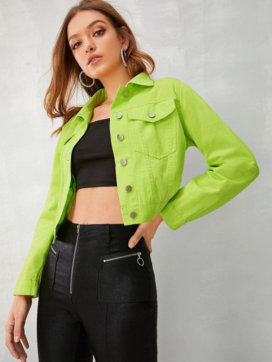 Neon Green Button Through Denim Jacket Shein Usa Green Denim Jacket Neon Green Outfits Denim Fashion Women [ 1199 x 900 Pixel ]
