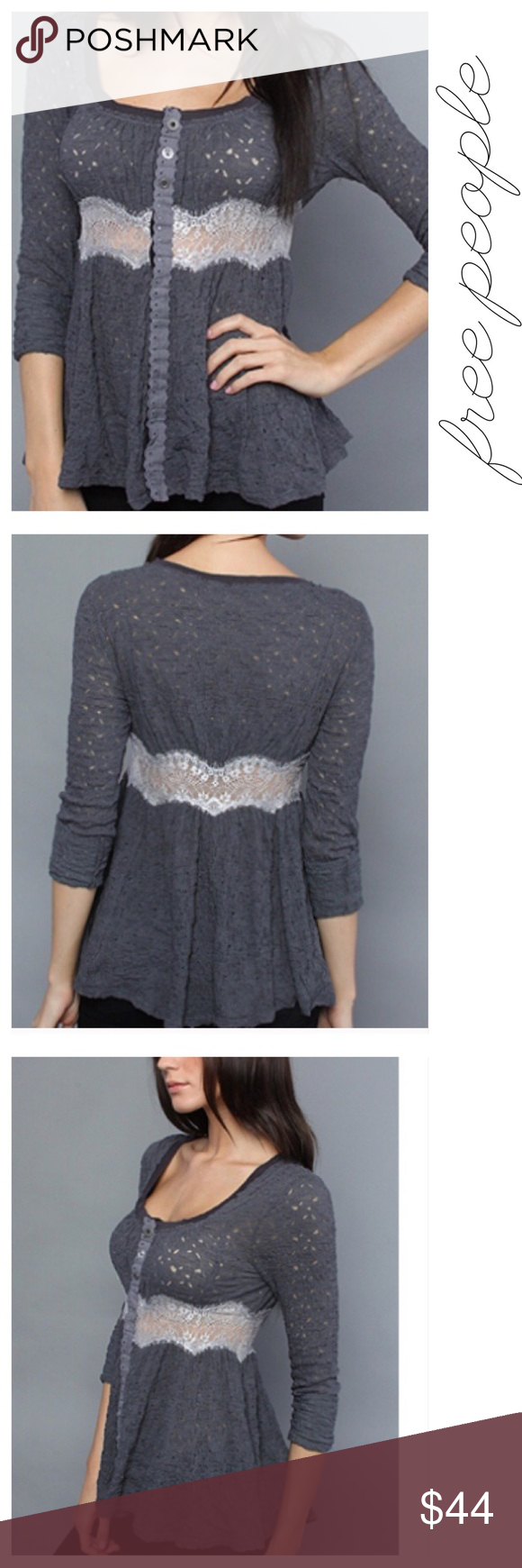 Free People Gray Crepe Lace Cardigan Top Buttons S | Lightweight ...