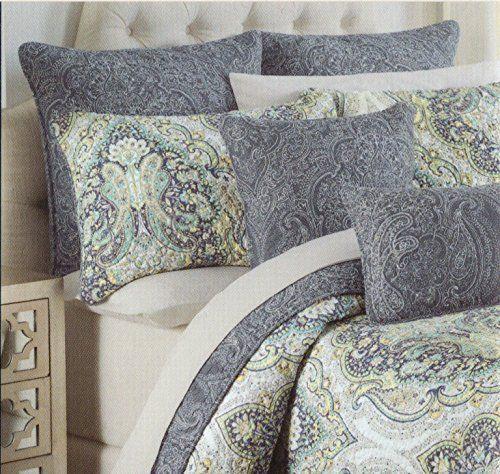 Tahari Home Cotton 3 Piece Full/Queen Quilt Set Reversible Blue ... : yellow and grey quilt bedding - Adamdwight.com