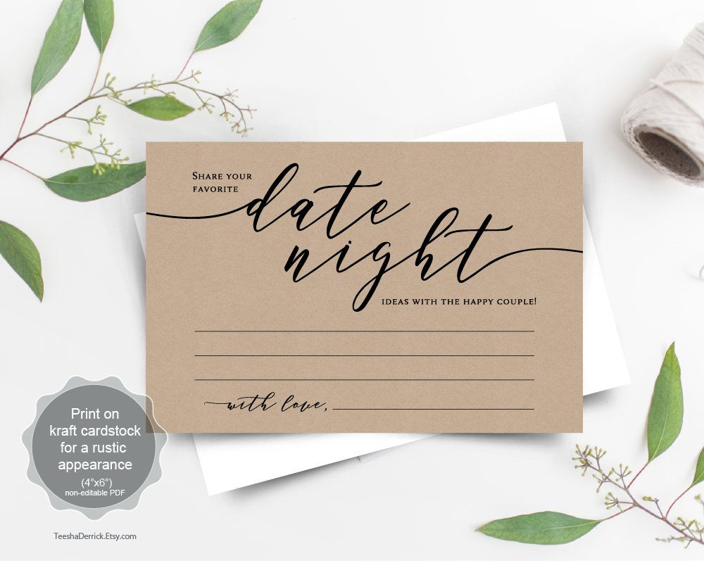 Date Night Card Template Instant Download Printable Pdf Template Date Night Ideas Bridal Showe Card Template Wedding Advice Cards Instant Download Printable