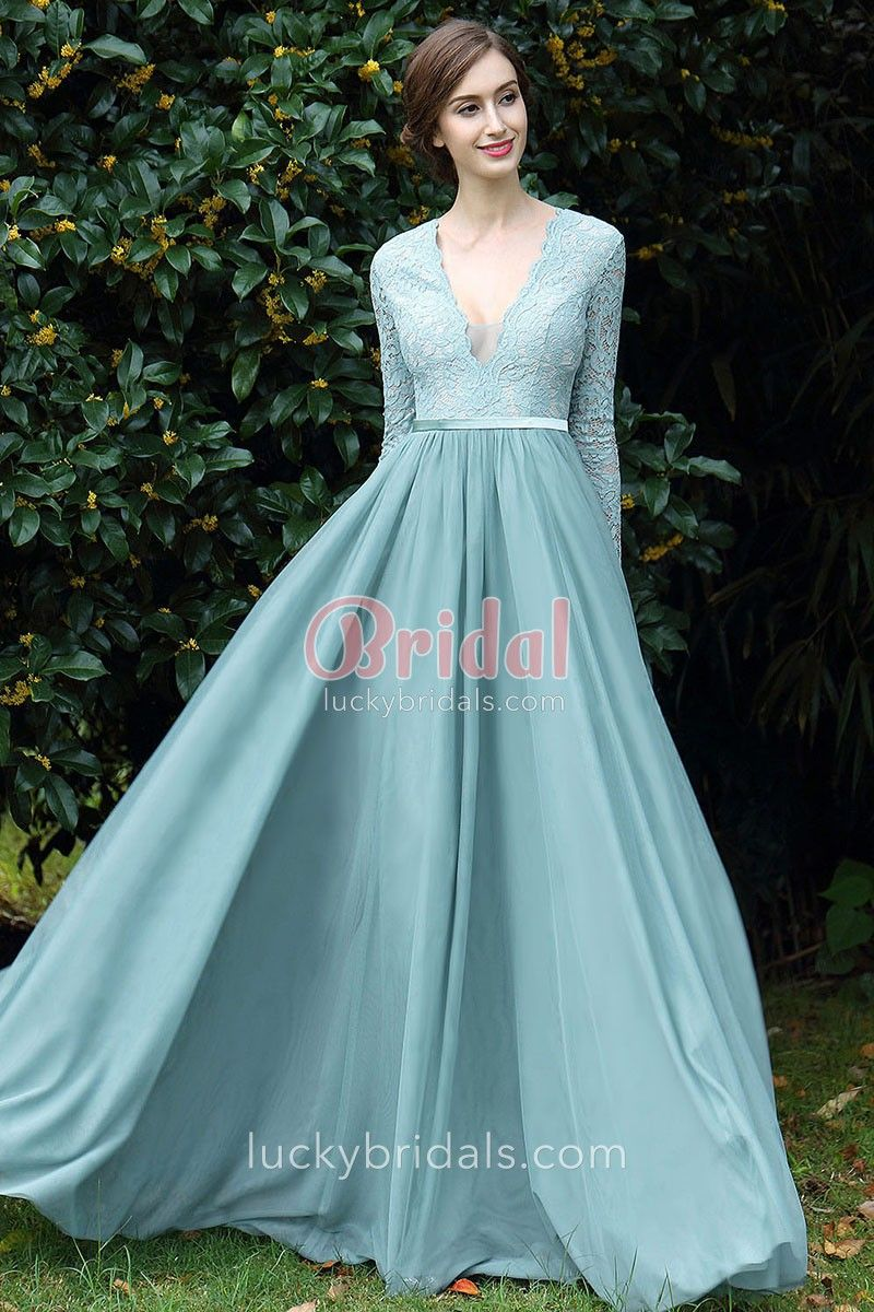 Dusty blue lace and chiffon plunging vneck long sleeve vintage prom