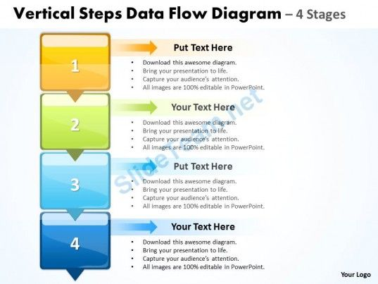 Business PowerPoint Templates vertical steps data flow diagram - data flow chart template
