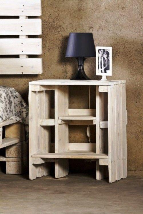Mesita de noche muebles con pallets de probosc - Muebles de noche ...