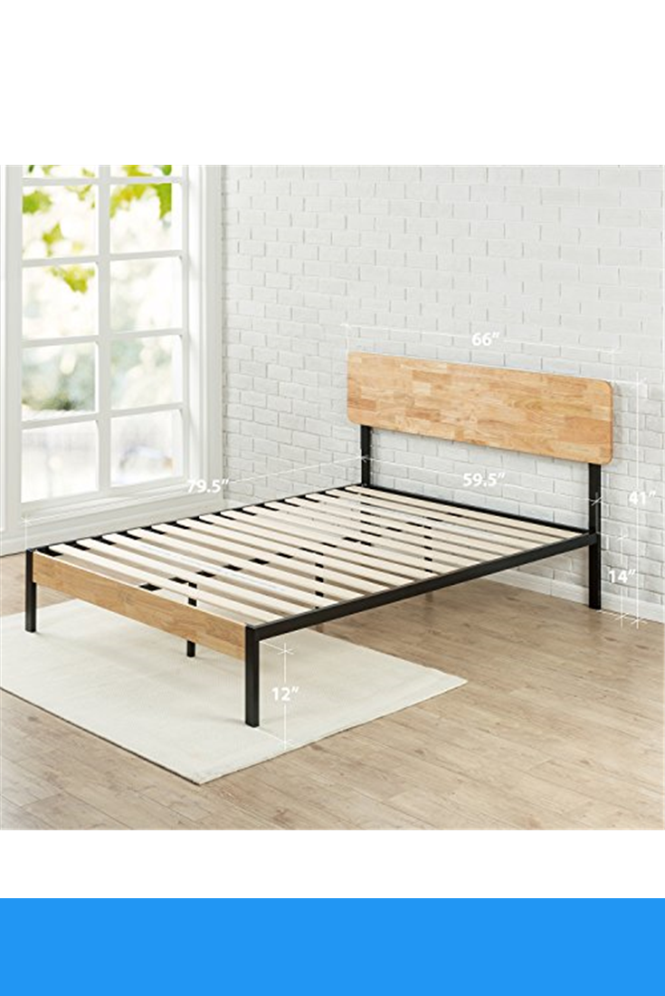 Zinus Olivia Metal And Wood Platform Bed With Wood Slat Support Queen