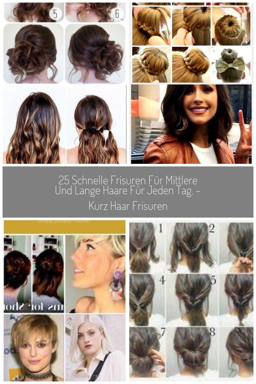 12 Schnelle Frisuren Fr Mittlere Und Lange Haare Fr Jeden Tag Kurz