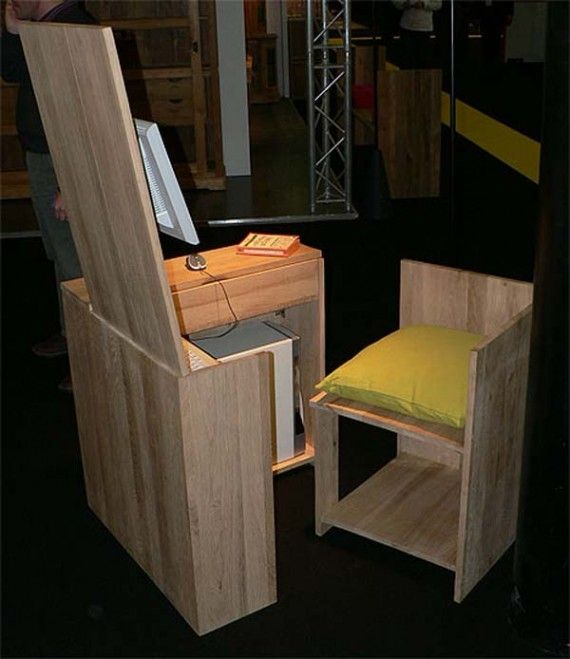 Hidden Desk Chair Combination Furniture Desk And Chair Set Furniture Design