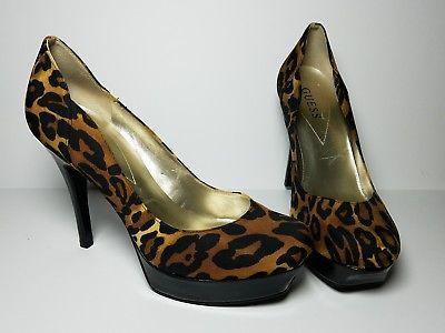d8082e29d8e Details about Women's GUESS Leopard Animal Print High Heel Platform ...