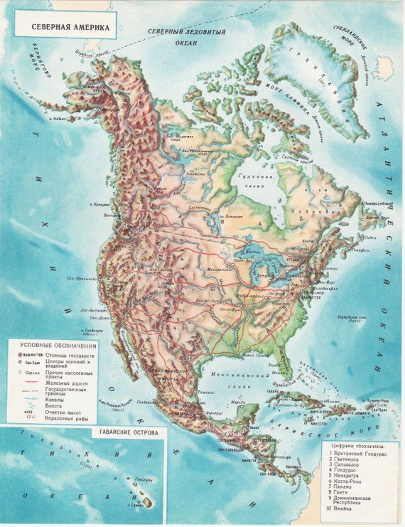 Map 9f America.Vintage South America And North America Small Map Print 1950s