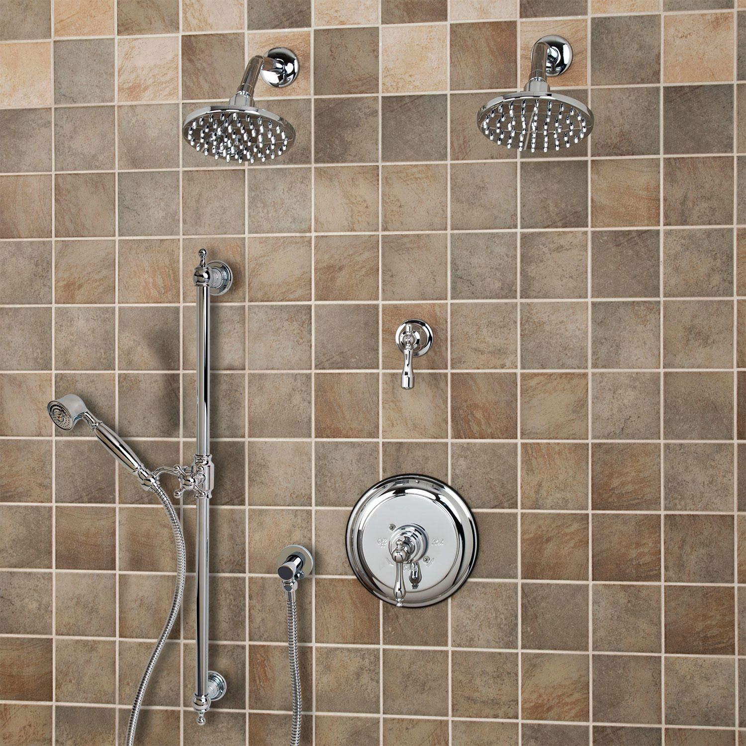 Bostonian Pressure Balance Shower System Two Heads Hand Lever Handle