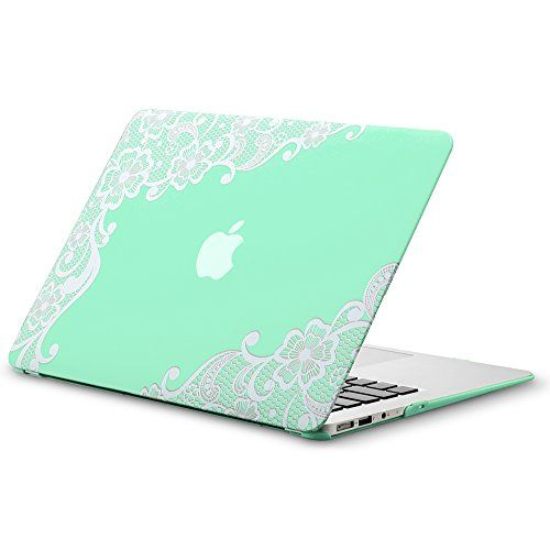 Cool Macbook Air Cover ~ Kuzy air inch lace mint green rubberized hard case