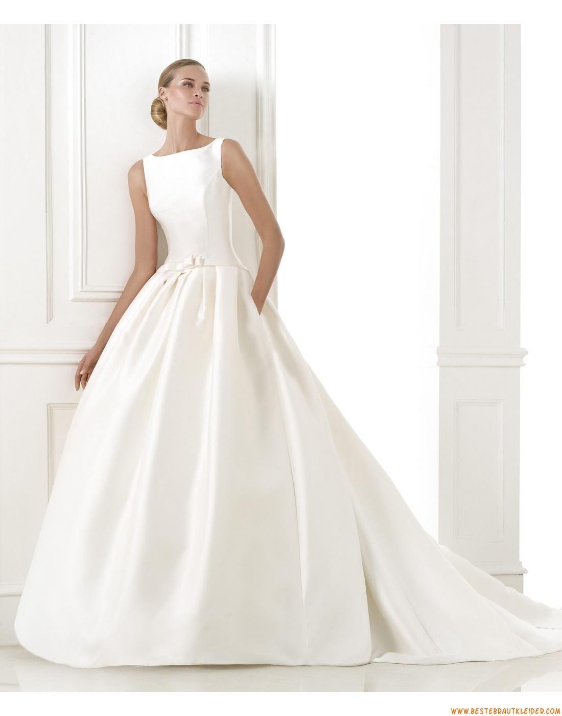A-linie Einfache Moderne Günstige Brautkleider aus Taft mit Schleppe ...