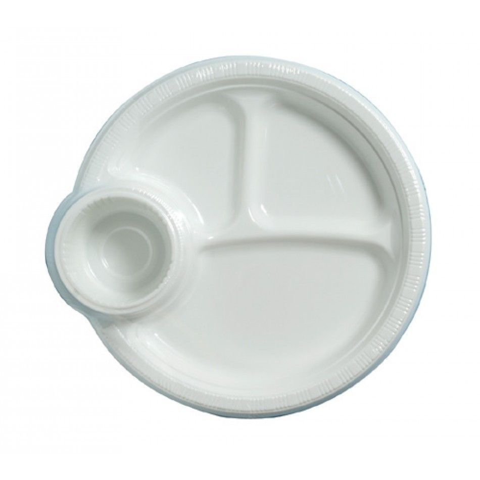 10.25 Plastic Plates with Compartment Cup Holder- White [224-019585 ...