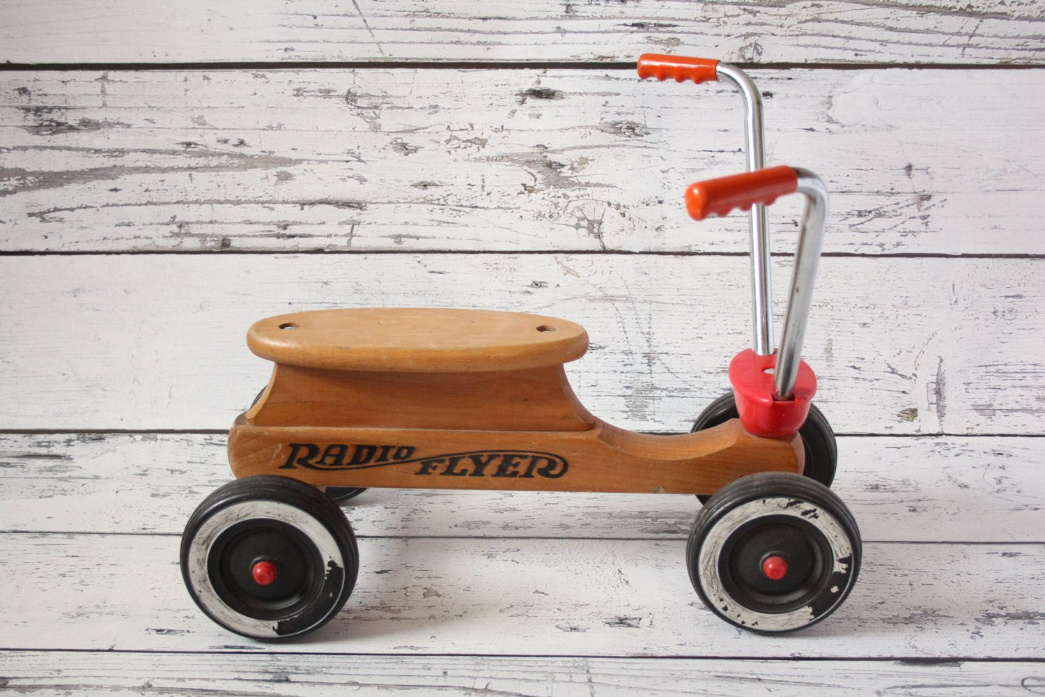 Rare Vintage Radio Flyer Maple Wood Ride On Children 39 S Scooter Push Car Toy Chrome Handlebars Red Accents Black Toddler Tricycle Vintage Radio Maple Wood