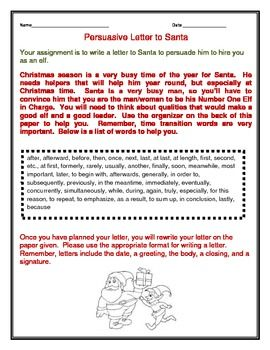 Persuasive Letter To Santa From An Elf  Persuasive Letter Elves