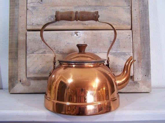Vintage Copper Tea Kettle Serves 4 Made In Portugal Tea