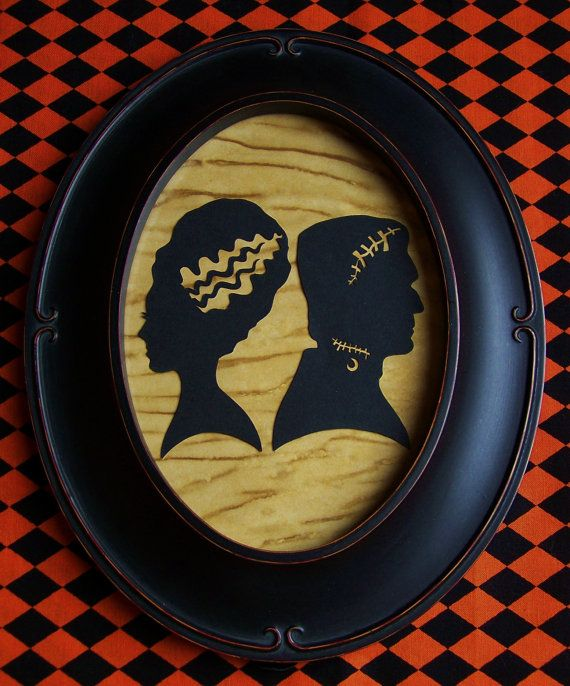 Primitive Halloween Frankenstein and Bride Wedding
