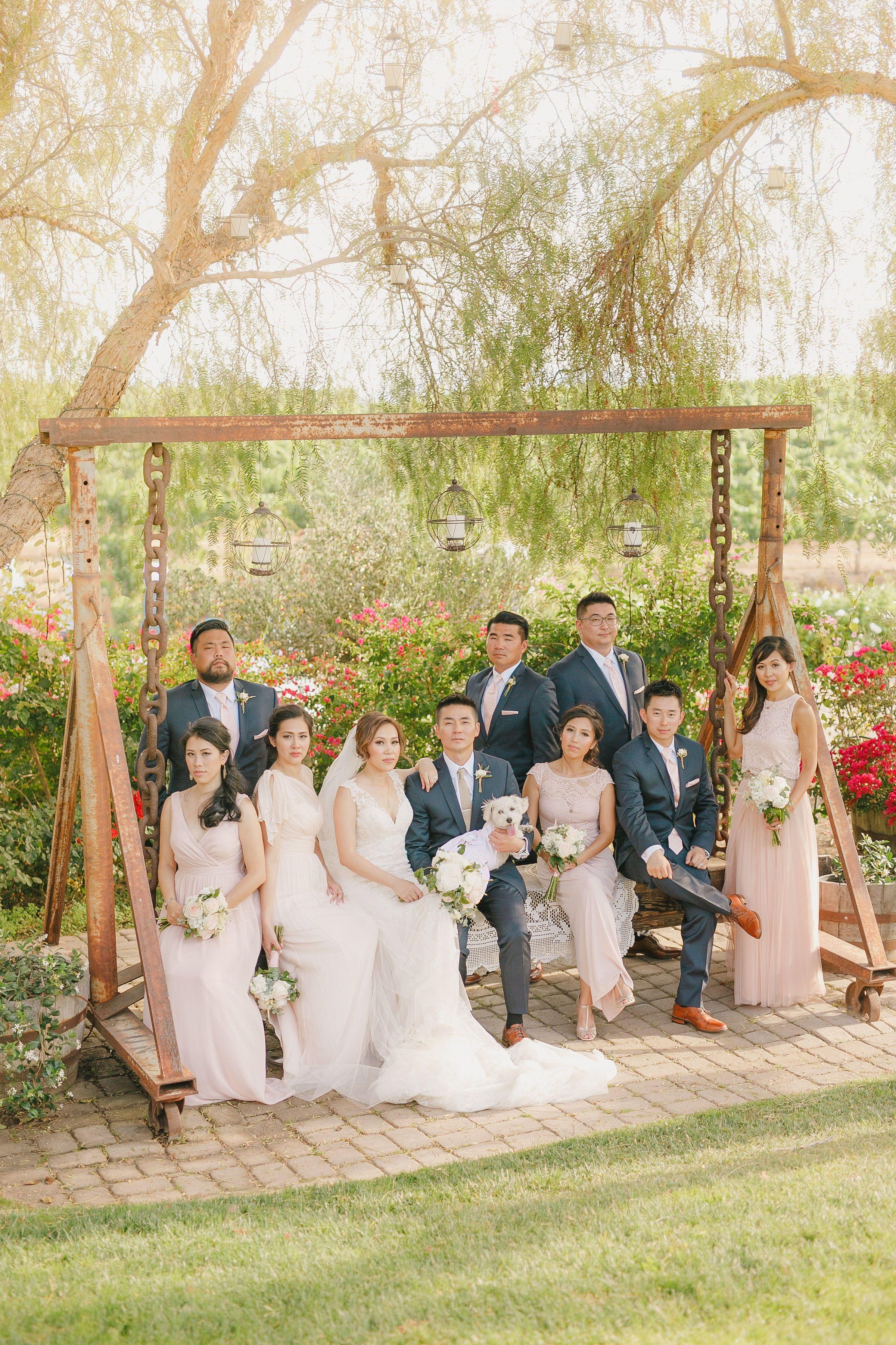 Wedding Party Posing On Swing At Villa De Amore Wedding Venue In Temecula Ca Casu Southern California Wedding Venues Wedding Photos California Wedding Venues