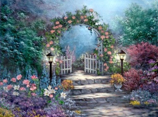 Flower Garden Drawing painting of garden gate nature flowers art drawing garden painting