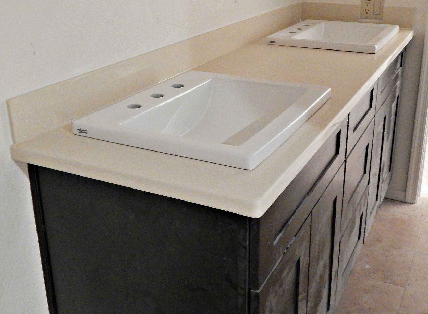 Silestone Haiku Quartz Countertop Remodel With Flat Polish Edge Top Mount Sinks And 4 Inch Standard Backsplashes
