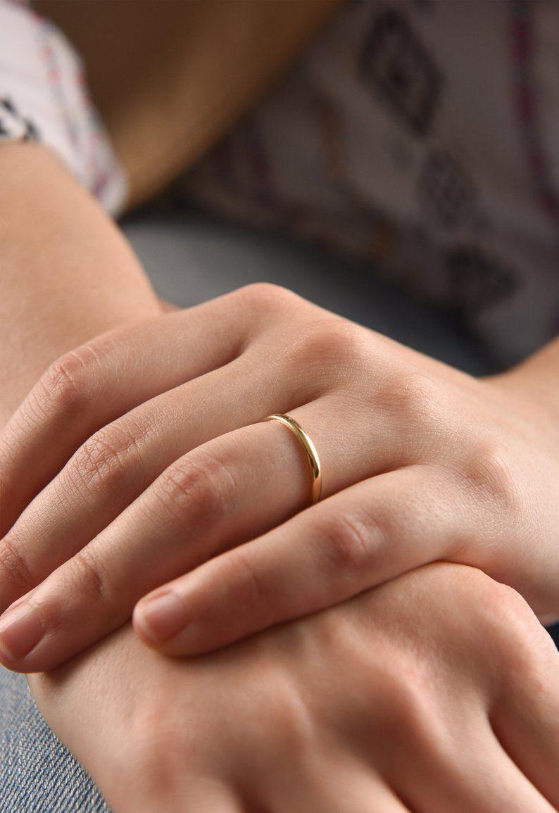 2 Mm 14k Yellow Gold Wedding Band Thin Wedding Ring In Solid Etsy Thin Gold Wedding Band Classic Wedding Rings 14k Yellow Gold Wedding Band