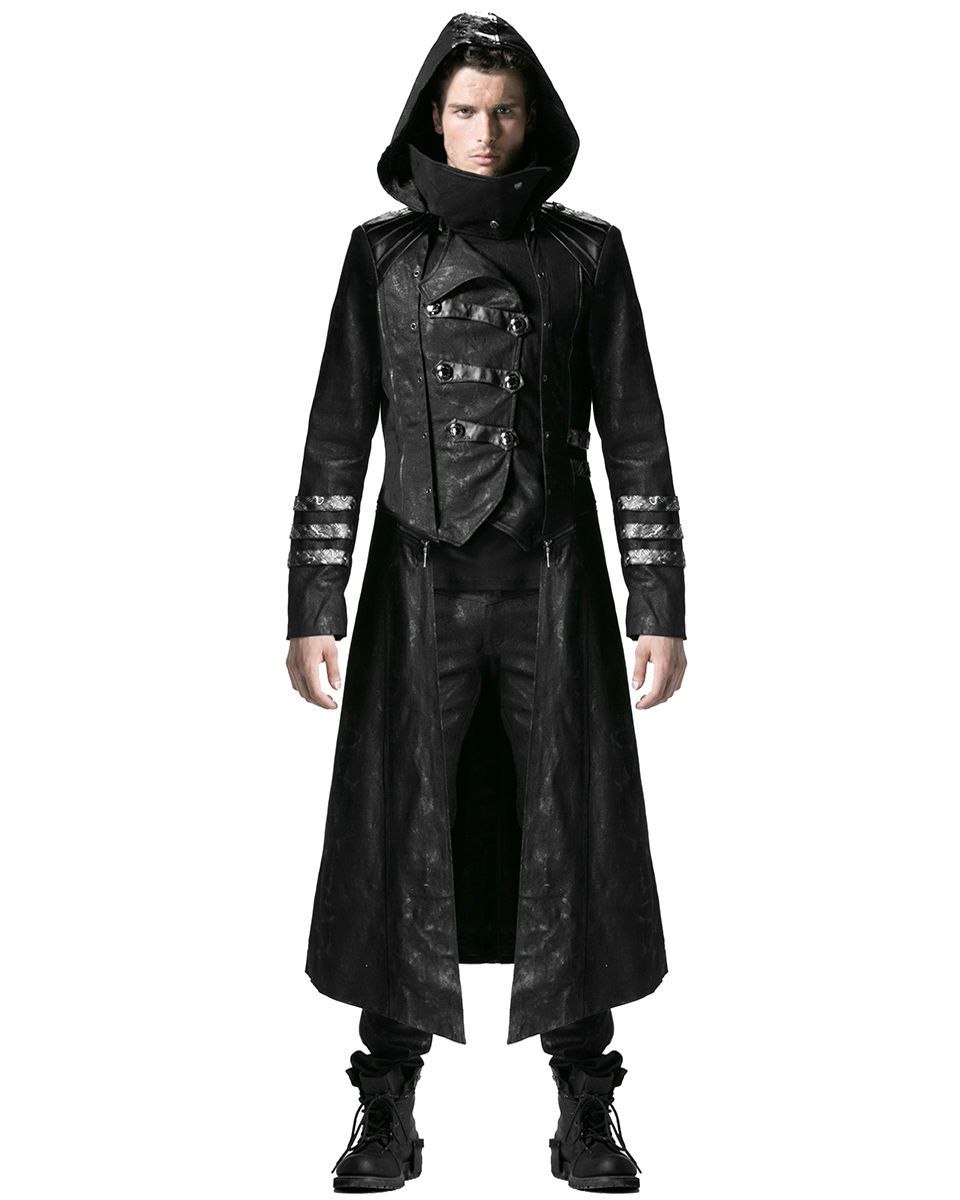 Details about New Scorpion Mens Coat Long Jacket Black Gothic Steampunk Hooded Trench
