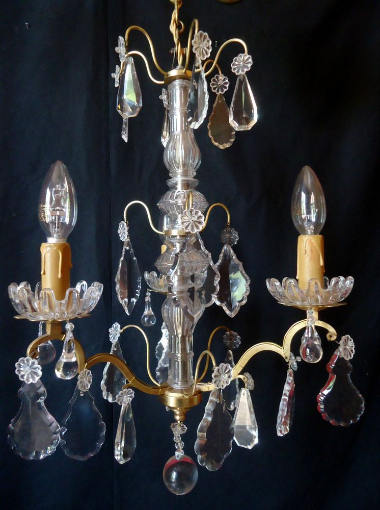 ancien lustre pampilles cristal bronze dore 3 lampes pret a poser old chandeli lustre. Black Bedroom Furniture Sets. Home Design Ideas