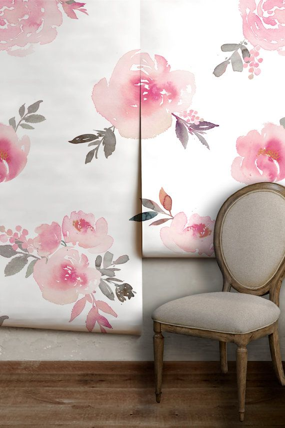 Bright Watercolor Floral Mural Removable or PrePasted